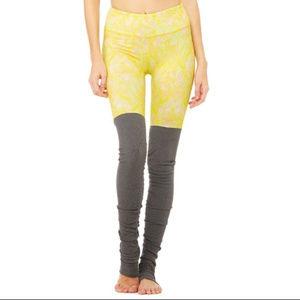 Alo Goddess Ribbed Legging M Yellow Print Gray